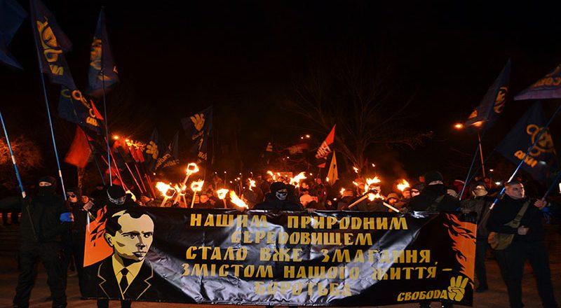 V Odesse v chest' dnja rozhdenija Bandery proshli fakel'nym marshem
